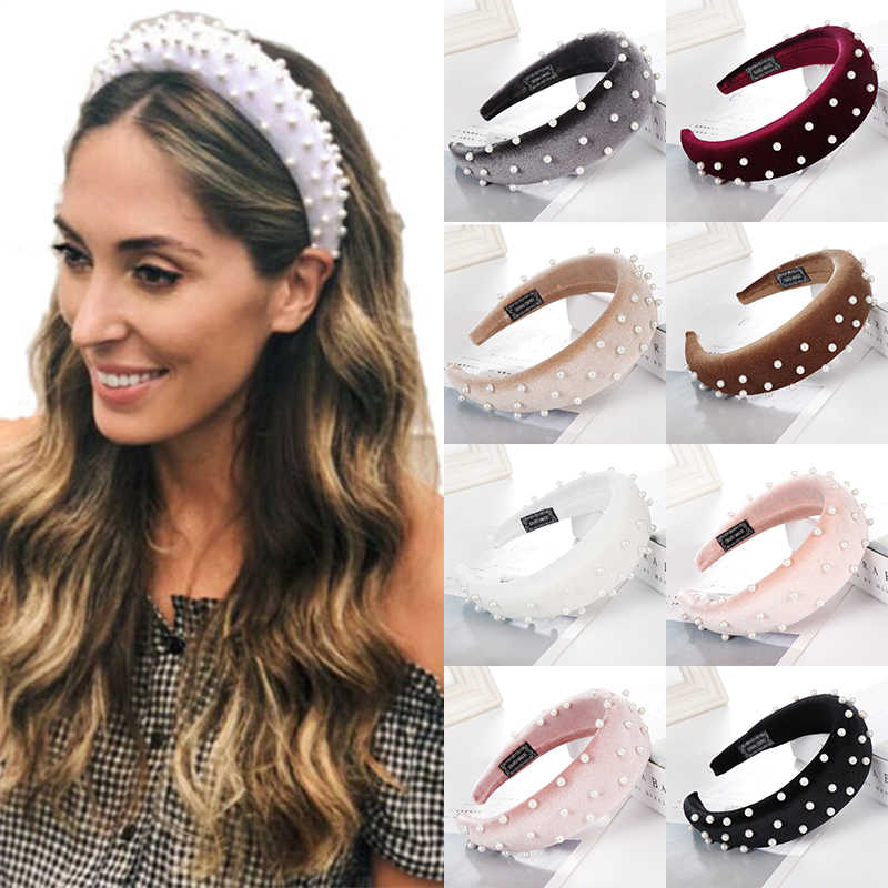 LNRRABC 2019 new Pearl 1pcs Padded Accessories Velvet Hairband Hoop Bands Sponge Hair Headband Women's Hair Jewelry hot sale