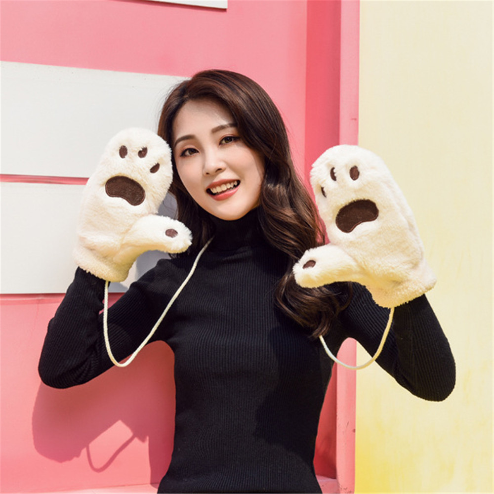 Winter Thickened Whole Covered Finger Mittens for Women Plush Gloves Fluffy Rabbit Dual-layer Hang on Neck Type Mittens
