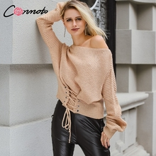 Conmoto Khaki Lace Up Knitted Sweater Women Elastic Long Sleeve Jumper Casual Autumn Winter Oversized Knitwear