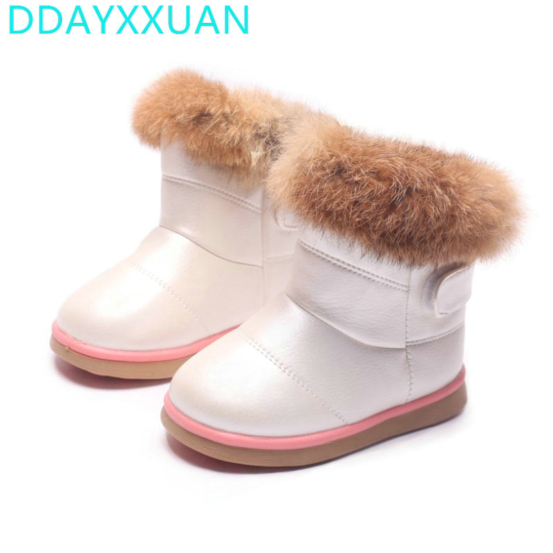 2017 New Winter Plush Baby Girls Snow Boots Warm Shoes Flat Baby Toddler Shoes Outdoor Snow Boots Waterproof Girls Kids Shoes