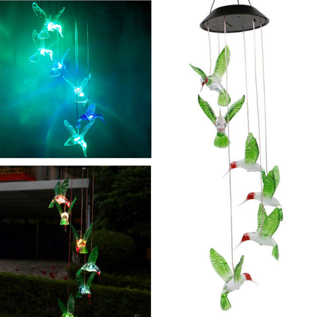 Solar Lamp Color Changing LED Wind Chimes Light Outdoor Hanging Garden Decor