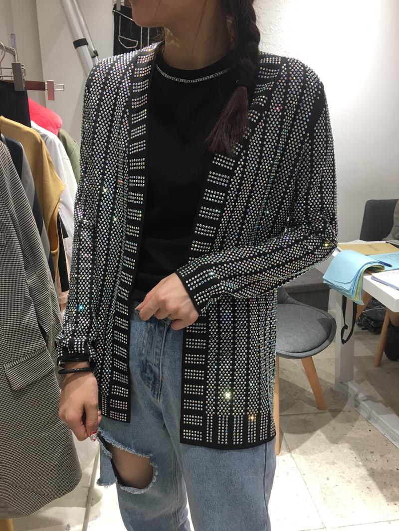 2018 Spring New Fashion Women V Neck Heavy Shiny Rhinestone Caot Ladies Long Sleeve Cardigan Jacket Coats Nightclub Wear Vestido