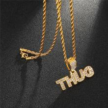 HIP Hop Stainless Steel Full Iced Rhinestones Letters Gold Color THUG Pendant Necklaces & Pendants For Men Jewelry Rope Chain