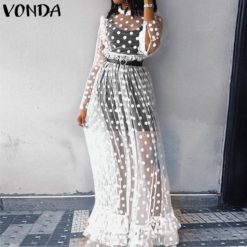 Women Lace Dress VONDA Bohemian Sexy Hollow Floor-Length Dress 2019 Holiday Vintage Dot Print Vestido Party Robe Femme Plus Size