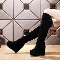 Autumn and winter plus velvet warm boots PU leather cross straps metal buckle fashion platform women's boots.