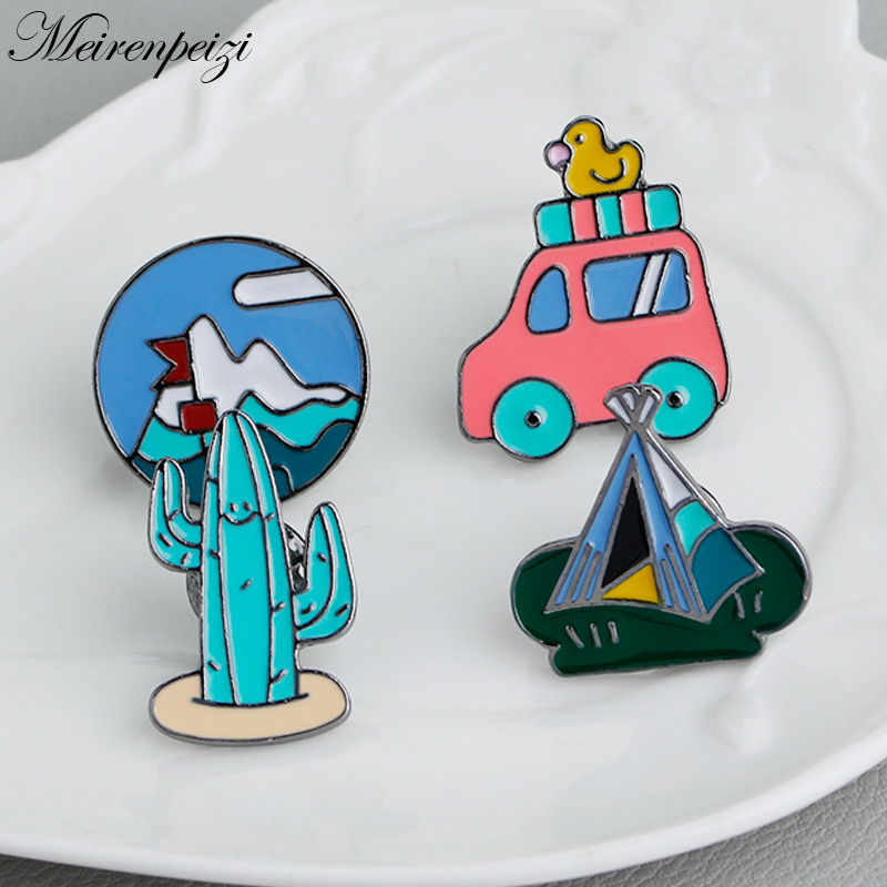 Enamel Pins Set Cactus Tent Mountain Travel Car Adventure Life Traveler Backpack Pins Outdoor Enthusiast Gifts Lapel Badges