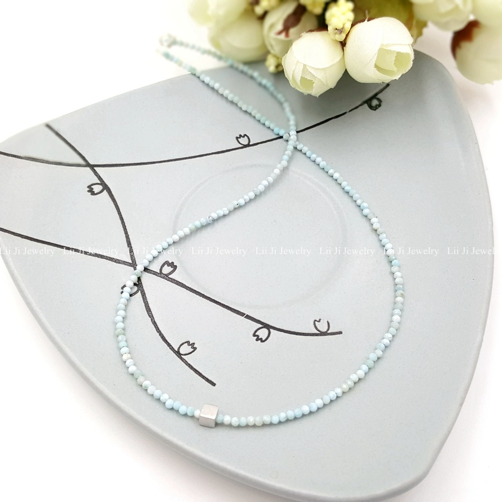 LiiJi Unique Natural Tiny Larimar,S925 Matte Cube 925 Sterling Silver Shining Necklace for Women or Men Jewelry цена