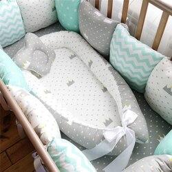 80*50 см детское гнездо кровать портативная кроватка дорожная кровать Младенческая Детская Хлопковая Колыбель для новорожденного ребенка лю...
