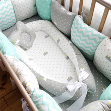 Cuna portátil de 80x50cm para bebé, cuna de viaje, cuna de algodón para bebé recién nacido, cuna de parachoques