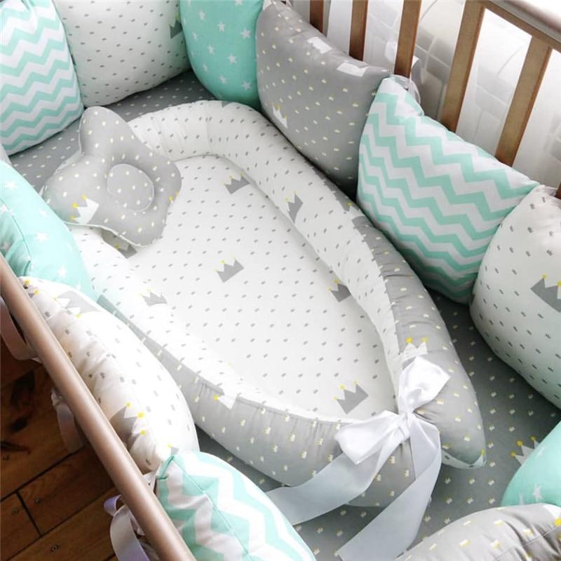 80*50cm Baby Nest Bett Tragbare Krippe Reise Bett Infant Kleinkind Baumwolle Cradle Für Neugeborene Baby Stubenwagen Stoßstange