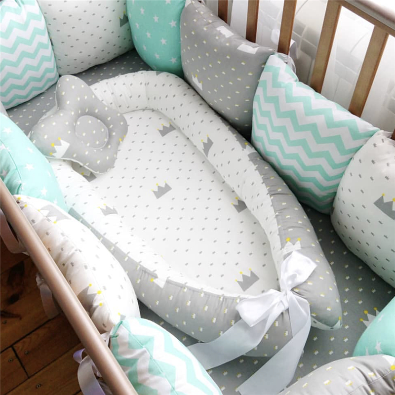 80*50cm Baby Nest Bed Portable Crib Travel Bed Infant Toddler Cotton Cradle For Newborn Baby Bassinet Bumper ...