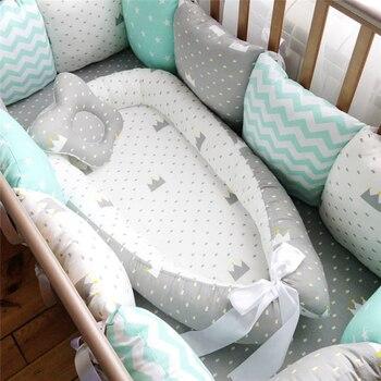 80*50cm cama de ninho do bebê berço portátil viagem berço infantil da criança berço de algodão para o bebê recém-nascido berço cama pára-choques
