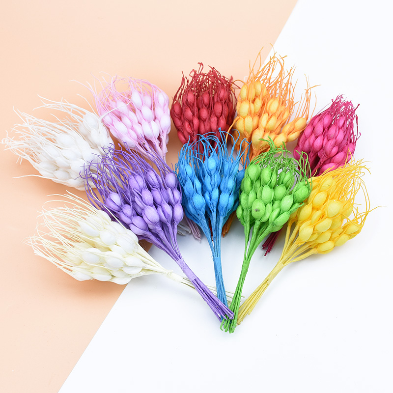 10pcs Artificial Wheat Ears Fake Plants For Vases Diy Gifts Candy Box New Year Christmas Decorations For Home Wedding Pompom