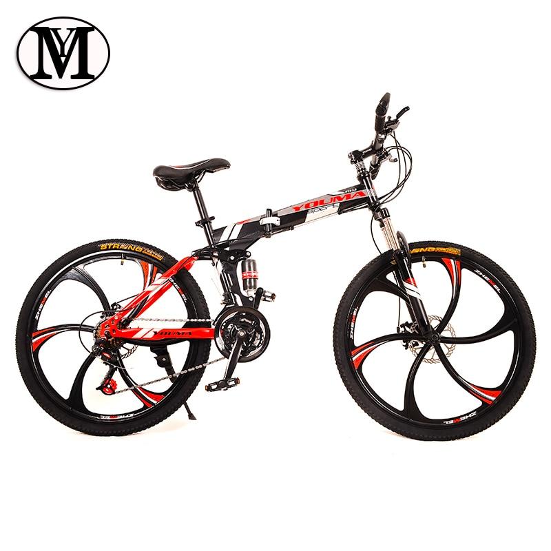 folding Road Bike 24 speed 26 inch mountain bike brand bicycle YM Front and Rear Mechanical Disc Brake Full shockingproof Frame
