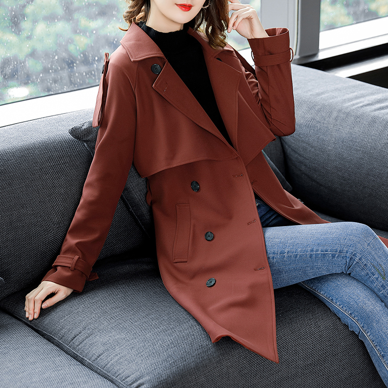 down Mince Lady Col Long breasted Office Pengpious Manteau Turn Ceinture Taille vent Coupe Style Double Angleterre Trench Pardessus Avec pqwXP1