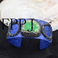 Blue Leather And Green Imperial Stone Baroque 7 5inch Unique Style FPPJ Bracelet Wholesale Beads Nature