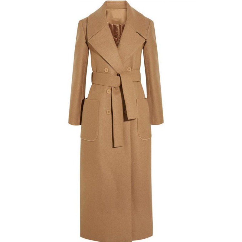 New Winter Women Simple Cashmere Maxi Long Design Coat Female Woolen Outerwear