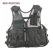 Military Tactical Vest Outdoor Sport Hunting Combat Airsoft Paintball Fishing Hiking Mesh Vest Gun Holster Pouch