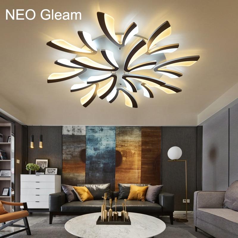 NEO блясък акрил дебел модерен доведе таван полилей светлини за дневна спалня трапезария дома полилей лампи тела  t