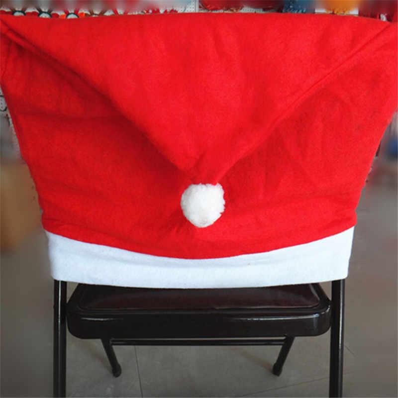 1 шт. Санта Клаус Кепки крышка стула Рождественский обеденный стол и изображением Красной шляпы Снежинка чехол на стул рождественское декоративное украшение предмет интерьера M4