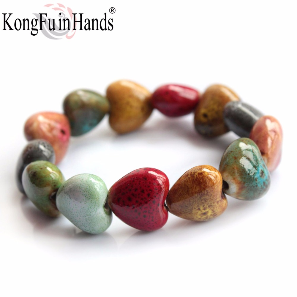 Hot Sale Heart Shaped vintage beads lady bracelet Bohemia Ceramic stone cha..