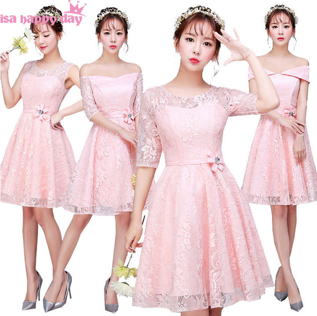 Beautiful Robe De Mariee Multi Style Corset Lace Bridesmaid Dress Light Pink Ball Dresses For A Wedding Guest B3879
