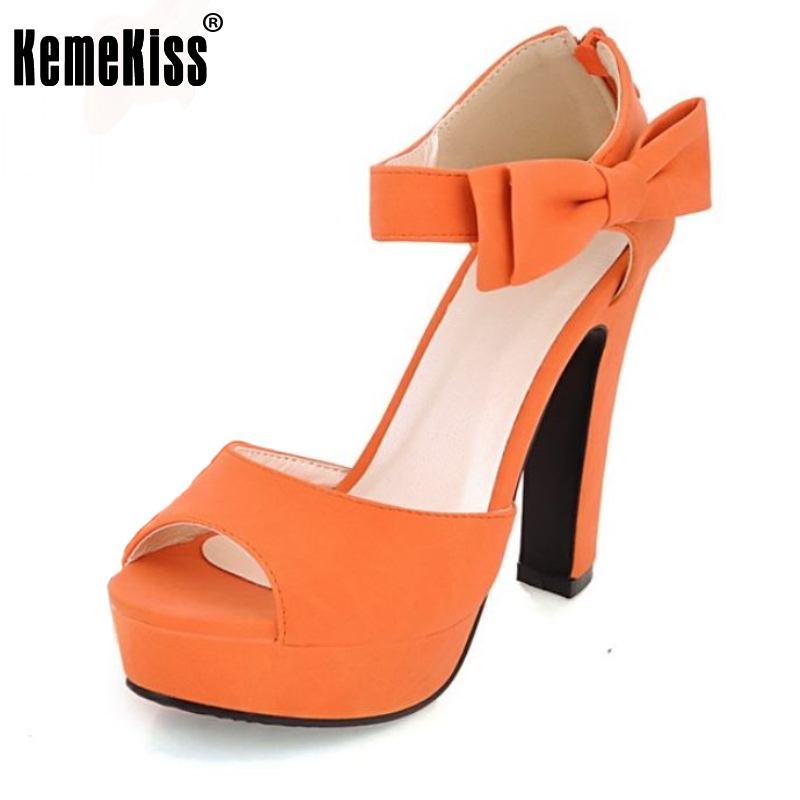 Kemekiss Women Sandals Women Shoes Summer Peep Toe Ankle Strap Orange Thick High Heel Sandals Platform Lady Shoes size 31-43 women sandals new summer peep toe ankle strap thick high heel sandals platform high quality casual fashion shoes size 31 43