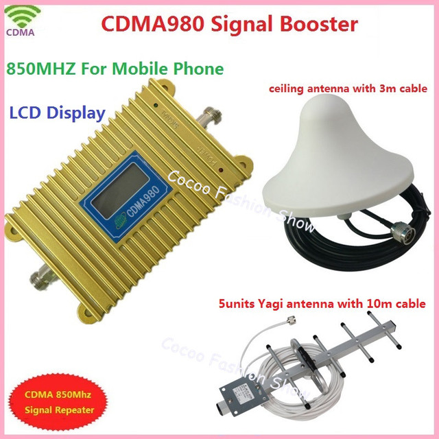 2d100f6172a89f LCD display new model CDMA 980 850Mhz mobile phone signal booster repeater  amplifier with yagi antenna Ceiling antenna 3m cable