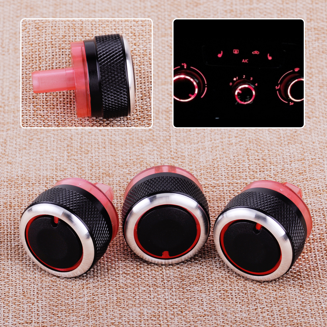 CITALL 3pcs Air Conditioner Heater Switch Knob Buttons A/C Dials Cover Fit For Peugeot 206 207 Citroen C2
