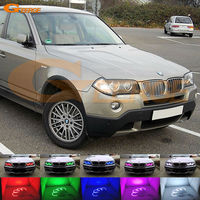 For BMW E83 X3 2003 2010 Excellent Angel Eyes Kit Multi Color Ultrabright 7 Color RGB
