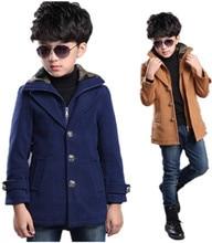 2016 осень и зима мальчиков пальто шерстяное длинный отрезок плюс толстый бархат теплый Тонкий пальто большой девственный мальчик одежды