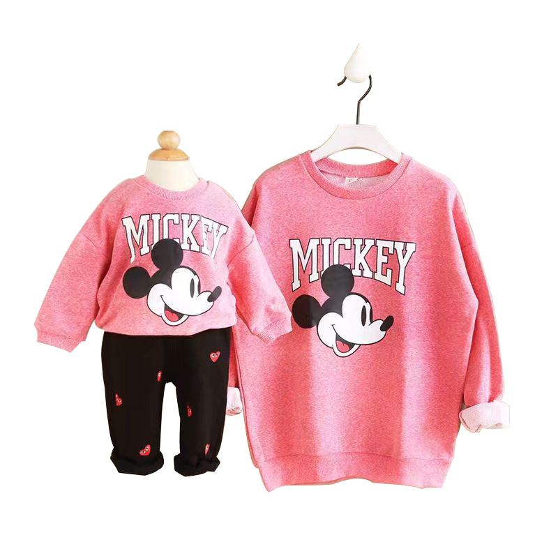 New Spring Cartoon Family Look Matching Mother Daughter Girl Clothes Outfits Mom And Daughter Sweatshirt&skirt  Family Clothing