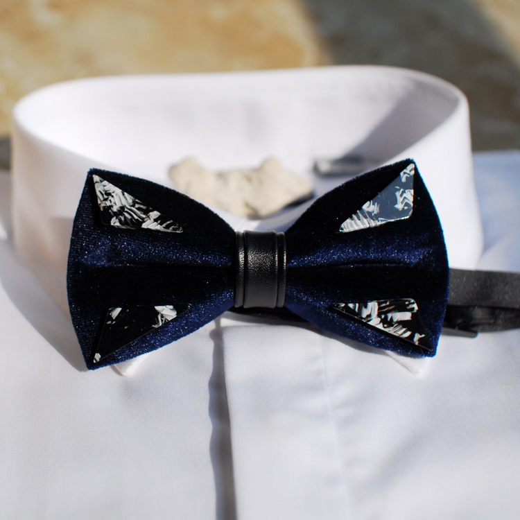 Free shipping new fashion casual mens male man Blue Velvet Triangle Lava Design Wedding Hosting Bow tie Western Europe Party