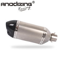 Motorcycle modification 51mm real carbon fiber Muffler Exhaust pipe Short Double mouthe Large Hexagon muffler