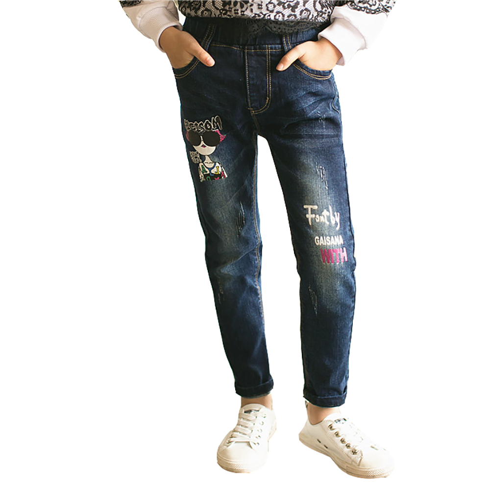 2018 Baby Mädchen Jeans Frühling Denim Hosen Kinder Schlank Solide Hosen Kind Dünne Lange Hosen Legging Taschen Cowboy 4-15 T Herbst