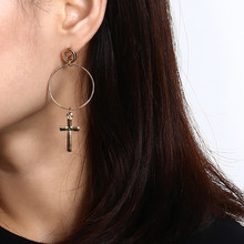 New Fashion Simple Geometry Round Cross Pendant Alloy Drop Earrings Wholesale 2019