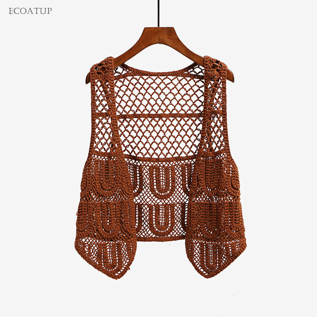 Mujeres crochet shrug vintage Hollow out Encaje suéter Outwear mujer ...