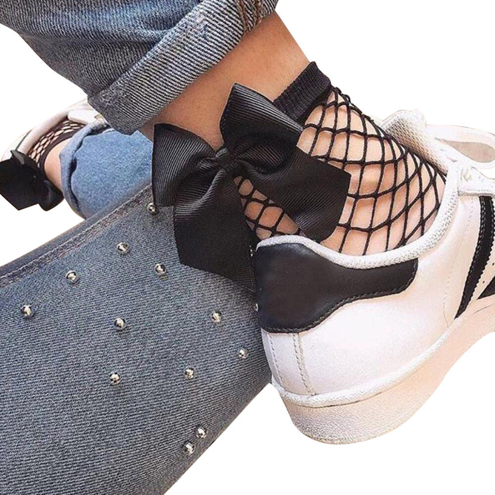 New Hot 2018 Fashion Summer Women Ruffle Large Fishnet Ankle High   Socks   Bow Tie Mesh Lace Fish Net Short   Socks   Chaussettes @C
