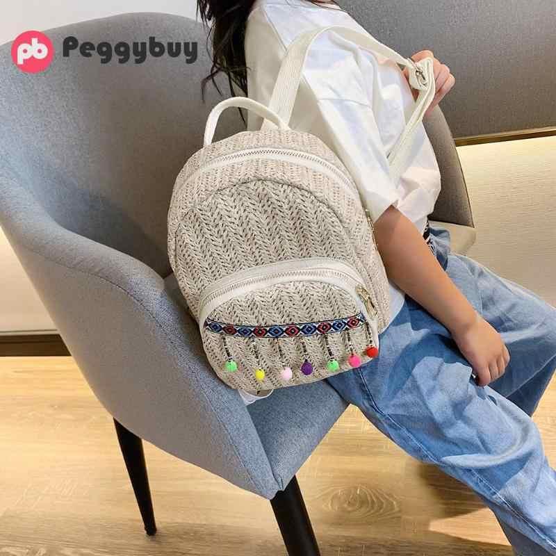 Рюкзак с помпоном, Женский соломенный рюкзак на плечо, школьные сумки для девочек, туристический рюкзак, женский модный маленький туристический рюкзак, mochila femini
