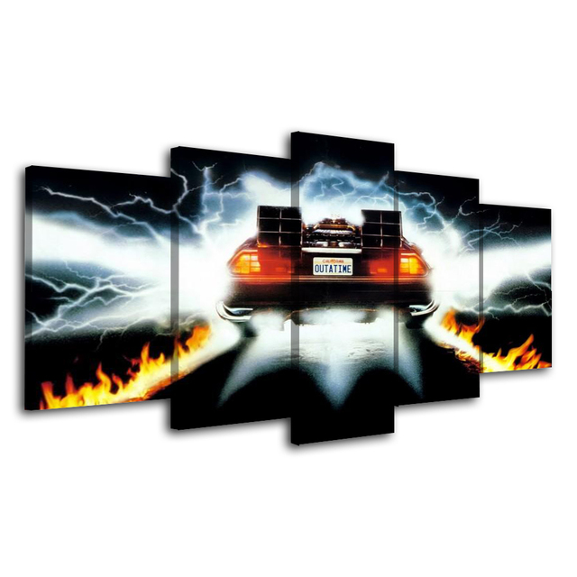 5Piece Wall Art Picture Back To Future Poster Car Canvas Art Posters Printed Home Decor Game Picture For Living  Room 1