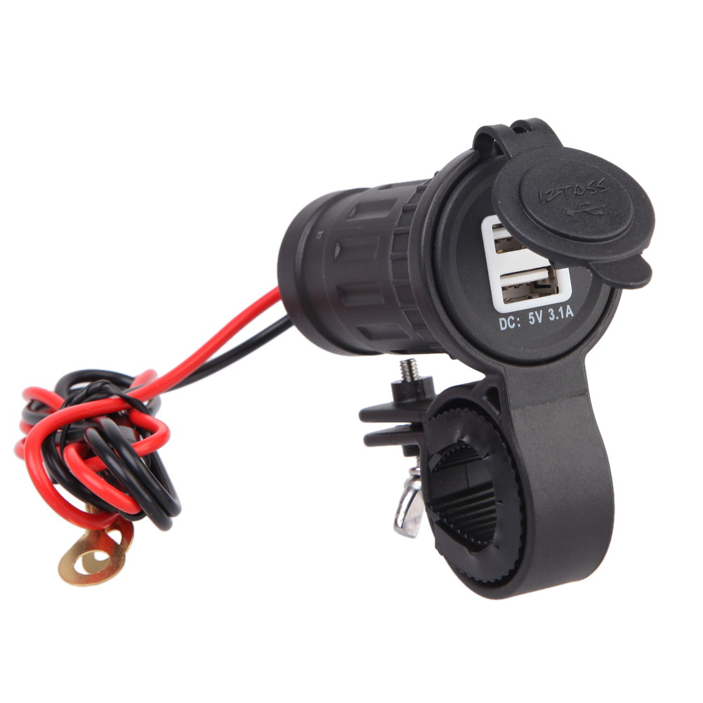 <font><b>12V</b></font>-24V Waterproof Motorcycle <font><b>Charger</b></font> <font><b>Motor</b></font> Handlebar <font><b>USB</b></font> Charging Socket Power <font><b>Charger</b></font> Adapter with 60cm Wire Moto Accessories image