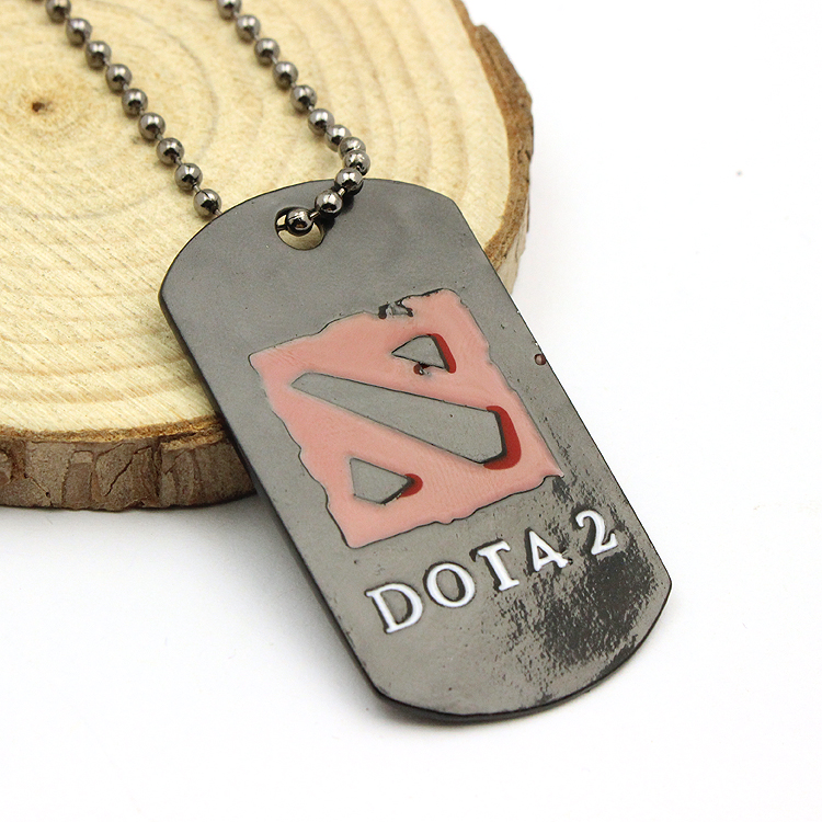 3D Online Game DOTA 2 Logo Necklace Dota2 Defense of the Ancients Black Enamel Beads Pendant Classic Women And Men Gifts