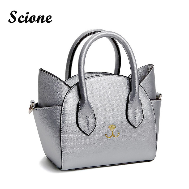 Scione Cute Cat Women Leather Handbags Trapeze Crossbody Messenger Bags Shoulder Bag Korean Casual Totes Bag Bolsa Feminina 2017 feral cat ladies hand bags pvc crossbody bags for women single trapeze shoulder bag dames tassen handbag bolso mujer handtassen