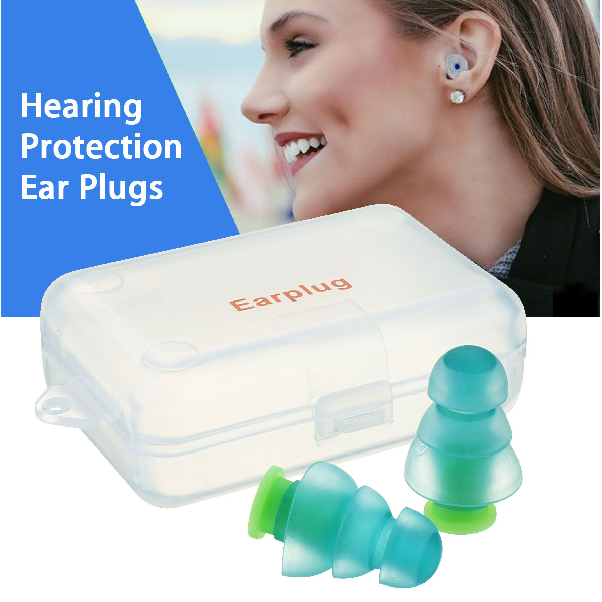 Corded Silicon Noise Cancelling Hearing Protectors 2 Pairs Earplugs with Case
