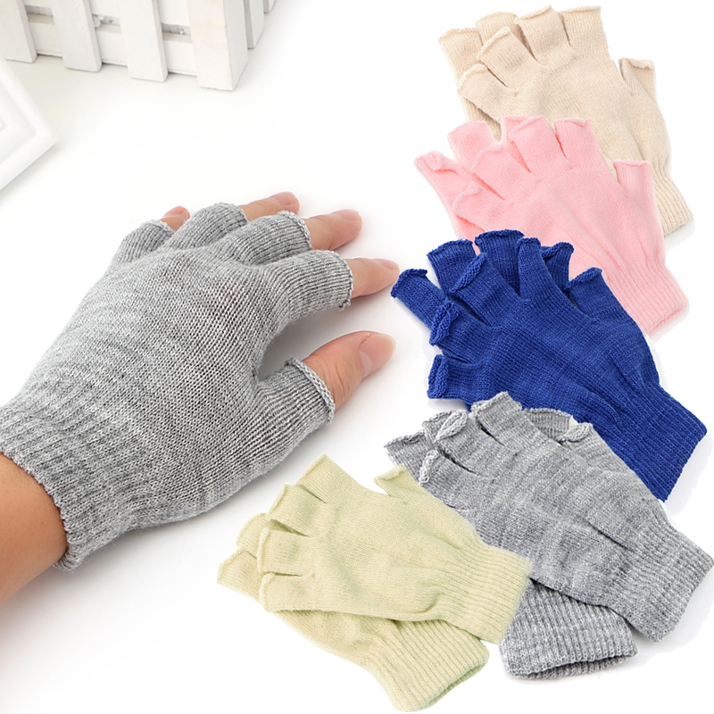 Autumn Winter Women Men Thin Elastic Fingerless Gloves 2020 Half Finger Knitted Stretch Soft Warm Solid Unisex Fashion Casual