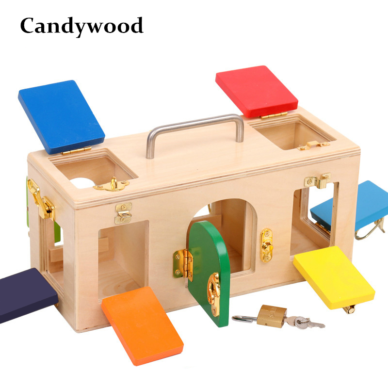 Kids Toy Montessori Colorful Lock Box Early Learning Childhood Kindergarten Montessori Education Preschool Training Kid Juguetes цена