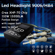 Super Bright White Canbus 9006 HB4 6000K 55W 6600LM 110W Car C ree XHP70 chip LED Headlight Bulb Lamp Conversion Kit Fanless