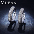 MDEAN white gold plated hoop earrings vintage CZ diamond jewelry Engagement Earrings for women bague fashion accessories MSE018
