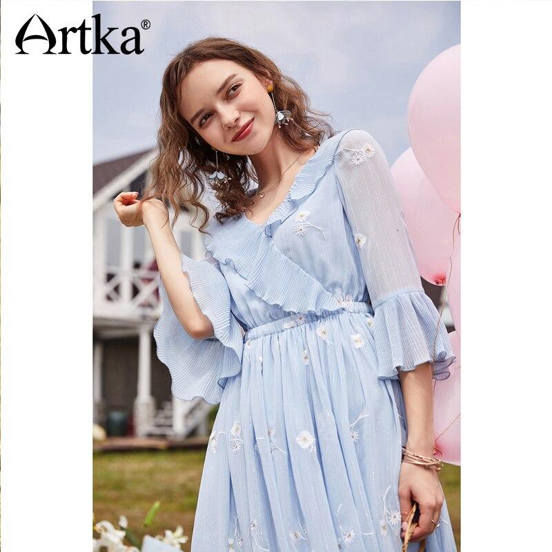 ARTKA Summer New Women Elegant Sky Blue Ruffled Elastic Waist Flare Sleeve V neck Floral Embroidery