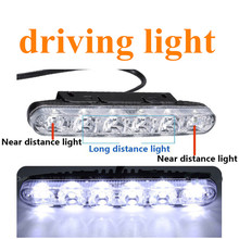 hot sell lamp car 6LED day line lights fish fork LED daytime running light 2pcs High power day light